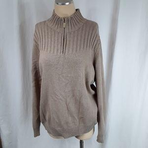 Karen Scott Zippered Mock Turtleneck Sweater Tan